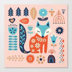 Soft And Sweet Scandinavian Fox Folk Art Art Print by Little Bunny Sunshine - X-Small Scandinavian Pattern, Scandinavian Folk Art, Scandi Art, Fox Illustration, Tinta China, Naive Art, Metal Art, Canvas Art Prints, Painted Rocks