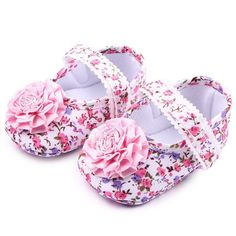 586d3c6bc100 NEW Baby Girl Pink Floral Mary Jane Flower Crib Shoes 0-6 6-9