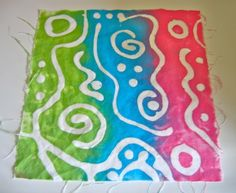 Glue Resist using Elmers and textile paints on 100% cotton muslin.