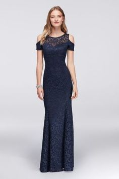 Combining the cold-shoulder trend with the timeless appeal of lace, this mermaid gown is a style winner for every big event.   By Nightway  Polyester, spandex  Back zipper; fully lined  Hand wash  Imported