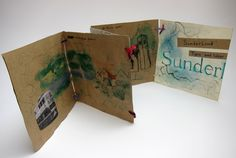 """""""A Little Tribute"""". Monica Rocca. Double-sided concertina style book using watercolour, charcoal and pencil. Part of the Sunderland Book project , curated by Theresa Easton."""