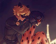 Chat fixing Ladybug's ribbon (Miraculous Ladybug)