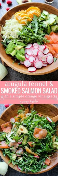 You Have Meals Poisoning More Normally Than You're Thinking That Arugula Fennel and Smoked Salmon Salad With Radish, Cucumber, Oranges, And Avocado Topped In A Simple Orange Vinaigrette Paleo Gluten Free Healthy Salads, Healthy Eating, Healthy Recipes, Free Recipes, Kale Salads, Salmon Recipes, Seafood Recipes, Cooking Recipes, Smoked Salmon Salad