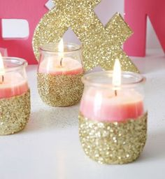 DIY Gold Glitter Candle Holders- this would be cheap to do :. [ BookingEntertain… DIY Gold Glitter Candle Holders- this would be cheap to do :. Glitter Candle Holders, Glitter Candles, Pink Candles, Gold Glitter, Glitter Dress, Black Candles, 18 Candles, Sweet 16 Candles, Glitter Uggs