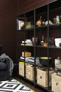 You can show off your favorite things and make room for storage on open shelving by using great looking boxes or baskets, like handwoven seagrass KNIPSA baskets, to hide things you're saving but don't want shown.