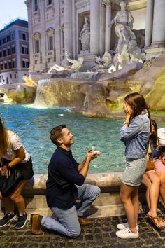 A Beautiful and Romantic Night Time Surprise Wedding Proposal candidly photographed at the Trevi fountain by the Andrea Matone Photographer studio in Rome Romantic Surprise, Romantic Proposal, Surprise Wedding, Wedding Proposals, Marriage Proposals, Proposal Photography, Most Romantic Places, Trevi Fountain, Photographic Studio