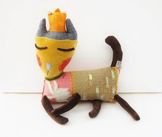 Textile Art Cat Doll Fabric Soft Sculpture called Princess Sequined Sienna