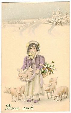 POSTCARD PIGS WITH GIRL IN SNOW BONNE ANNEE NEW YEARS GREETINGS