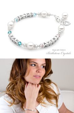 Mother's bracelet shown with children's names and birthstones.