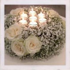 Baby's breath and candles Table Arrangements, Table Centerpieces, Wedding Centerpieces, Wedding Table, Diy Wedding, Floral Arrangements, Rustic Wedding, Wedding Flowers, Wedding Decorations