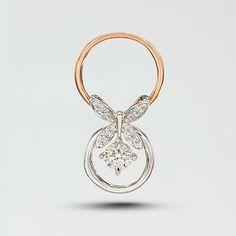 18K雙色金 蝴蝶雙環 一款多戴鑽石吊咀 13顆鑽石共0.121克拉 金重2.38克 BRP20087