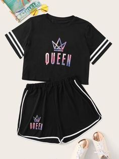 Plus Size Queen Letter Print Striped Top With Contrast Trim Shorts Cute Lazy Outfits, Kids Outfits Girls, Sporty Outfits, Teenager Outfits, Swag Outfits, Stylish Outfits, Girls Fashion Clothes, Teen Fashion Outfits, Swag Fashion