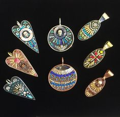 Mosaic pendants by Sally May Kinsey Polymer Clay Jewelry, Resin Jewelry, Glass Jewelry, Jewelry Crafts, Jewelry Art, Jewellery, Mosaic Crafts, Mosaic Art, Mosaic Glass