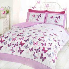 Butterfly Single Pink Duvet Set: Amazon.co.uk: Kitchen & Home
