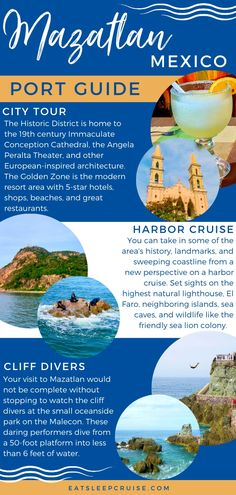 If you have an upcoming cruise to the Mexican Riviera, our Top Things to Do in Mazatlan, Mexico on a Cruise will help you plan your day ashore in this port. From city highlights like the Historic District and Golden Zone, to a harbor cruise where you can set sight on sea caves and sea lions, to the famous cliff divers, visits to neighboring Stone Island and Deer Island, zip lining, and brewery tours, there is plenty to do during your time in Mazatlan. #cruise #Mexico #thingstodo… Cruise Mexico, Mexico Vacation, Mexico Travel, Packing For A Cruise, Cruise Travel, Cruise Vacation, Vacations, Cruise Excursions, Cruise Destinations