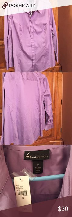 Lane Bryant, purple, long sleeve, 26 Never worn (tag on), button front and cuffs, 96% cotton/4% spandex Lane Bryant Tops Button Down Shirts