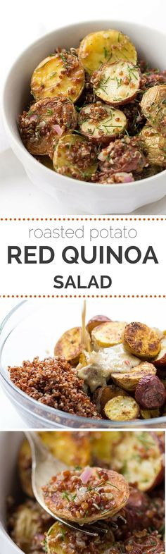 The perfect potato salad using roasted new potatoes, red quinoa and served with a shallot-caper dressing - so easy and SO delicious!