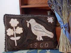 Primitive Bird Punch Needle Pillow with Antique Velvet Early Hooked Rug Style | eBay