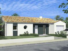 Modèle de maison en L de plain pied disposant de 3 chambres, un garage, un cellier et une belle pièce de vie traversante avec cuisine ouverte proposée par le constructeur de maisons Alliance Construction.