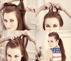 How To: 10 Easy Summer Hair Styles That ponytail youve been rocking for years? Instead try these unusual ways to keep your hair off your face when the heat is on. 2015 Hairstyles, Quick Hairstyles, Summer Hairstyles, Braided Hairstyles, Wedding Hairstyles, Girls Hairdos, Twist Ponytail, Mohawk Ponytail, Braided Mohawk