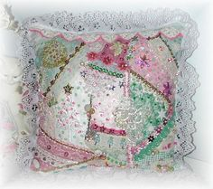 Christmas Crazy Quilt Pillow in Shabby Chic Pink