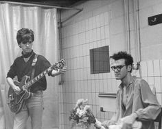 Morrissey and Marr about to go onstage, Belgium, 1984