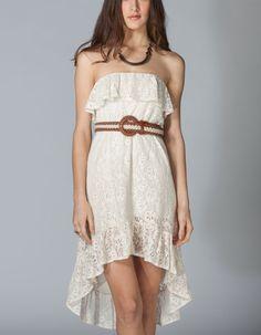 FULL TILT Lace Ruffle Hi Low Tube Dress