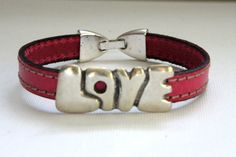Handmade Bracelet with Silver Love sign stitched by ClassyLeather, $22.50
