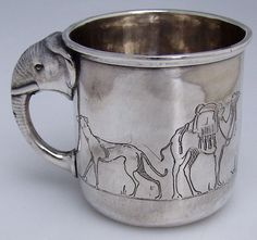 Baby Cup Sterling Silver Elephant Handle Engraved Animals International Sterling - Beautiful and whimsical antique and vintage baby items on Ruby Lane