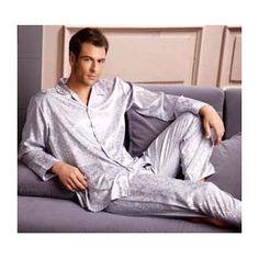 59f151eb77 Luxury long sleeve silk mens pajama set on