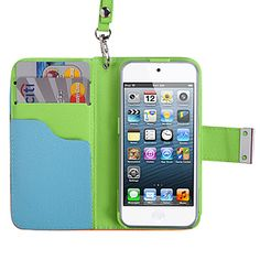 Vertical #Wallet Case w/ Lanyard for #iPod touch (5th gen.), Sky Blue/Olive Green/Light Orange $16.99 From #DayDeal