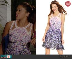 Jane's pink and purple petal printed cutout dress on Jane the Virgin.  Outfit Details: http://wornontv.net/41796/ #JanetheVirgin