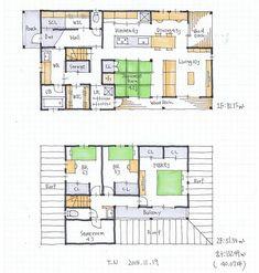 アトリエオーブさんはInstagramを利用しています:「『32坪の間取り』 ・ 家族用玄関として使えるシューズクローゼット。 家族用玄関とする場合、シューズクローゼットにも窓をつけたほうがよかったかもしれません。。 ・ ・ ・ ●『無料間取り相談会11月募集のお知らせ』 ・…」 Future House, House Plans, Deck, Floor Plans, Layout, House Design, How To Plan, Architecture, Wood