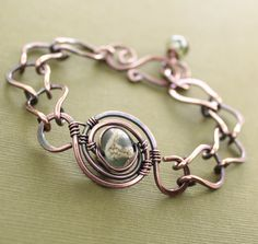 Items similar to Lampwork copper bracelet with a handmade chain in adjustable length. on Etsy Copper Bracelet, Copper Jewelry, Wire Jewelry, Jewelry Crafts, Jewelry Art, Beaded Jewelry, Jewelry Design, Copper Wire, Wire Bracelets