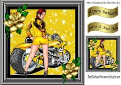 Biker babe in yellow hot pants lowrider bike 8x8 on Craftsuprint - Add To Basket!