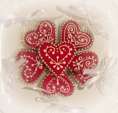 Valentine Gingerbread iced cookies red by Cute Sweet Thing, via Flickr