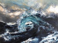 Mixed Media wave painting by Vancouver artist Tiffany Blaise. It was created using a palette knife, oil paint and cold wax with an impasto technique. Ocean Wave Painting, Sky Painting, Wave Art, Seascape Paintings, Mixed Media Painting, Texture Painting, Acrylic Paintings, Original Paintings, Original Art