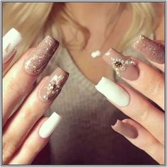 "Source by wendyliborio "" title=""Nude Nails""> Nude & White Nails ? Source by wendyliborio "" title=""Nude Nails""> Nude & White Nails ? Source by wendyliborio "" title=""Nude Nails""> Nude & White Nails ? Nail Art Designs, Colorful Nail Designs, Nail Polish Designs, Acrylic Nail Designs, Nails Design, Ongles Bling Bling, Bling Nails, Diy Nails, Long Acrylic Nails"