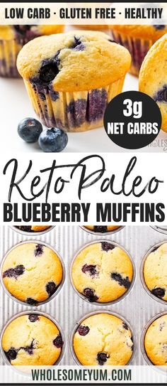 Low Carb Paleo Keto Blueberry Muffins Recipe With Almond Flour - See how to make the best keto muffins in just 30 minutes! These ultra moist almond flour blueberry muffins from scratch are quick and easy. It's the perfect low carb paleo blueberry muffins Paleo Dessert, Desserts Keto, Keto Friendly Desserts, Dessert Recipes, Dinner Recipes, Health Desserts, Soup Recipes, Blueberry Muffins From Scratch, Paleo Blueberry Muffins