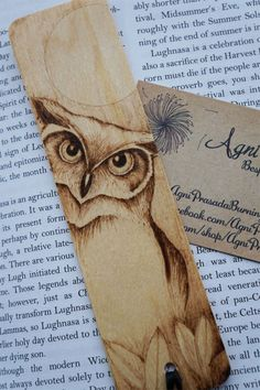 Wood Burning Art by Stephanie Butler of Agni Prasad. Owl Bookmark