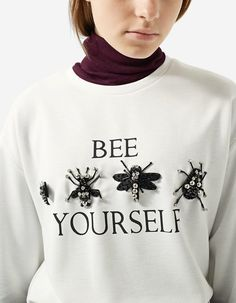 Embellished Sweater - T-shirts Vegan Fashion, Ethical Fashion, Womens Fashion, Sassy Shirts, Tee Shirts, Tees, Quirky Fashion, Girls Wear, Diy Clothes