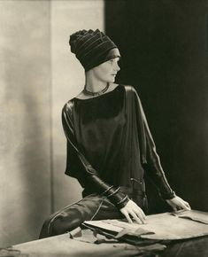 Edward Steichen / Model Dorothy Smart wearing a black velvet hat by Madame Agnès / 1926 / Courtesy Condé Nast Archive / France's most popular milliner Madame Agnes was born in France in the late 1800′s, she retired in 1949, and died a short while later. She was famous for cutting the brims of her hats while they were worn by her customers. Madame Agnes styled hats which were both abstract and unique.