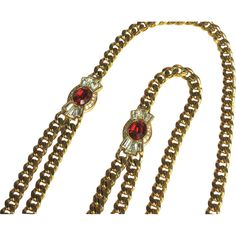 Vintage Givenchy Red Rhinestone Sautoir Necklace - available from The Vintage Jewelry Boutique on Ruby Lane.
