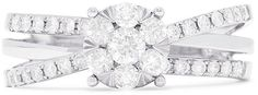 Effy Jewelry Effy Bouquet 14K White Gold Diamond Cluster Ring, 0.39 TCW