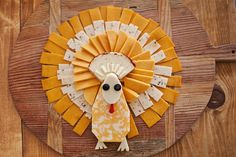 A turkey shaped cheese tray. Why not?