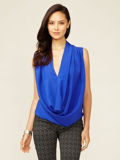 Draped Cowl Neck Blouse by Alex + Alex on Gilt.com