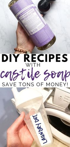 5 Simple DIY Recipes Using Castile Soap Looking for essential oil recipes using your bottle of castile soap? Take a look at these five simple diy recipes with castile soap and essential oils. Dyi, Easy Diy, Simple Diy, Simple Soap, Castile Soap Recipes, Homemade Soap Recipes, Uses For Castile Soap, Natural Laundry Detergent, Homemade Laundry Detergent