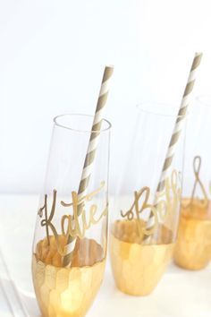 Gold Dipped Stemless Champagne Flutes GLASS by RachelCarl on Etsy