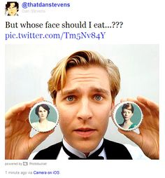 Downton Abbey's Dan Stevens suffers a cookie quandary. Hilair.