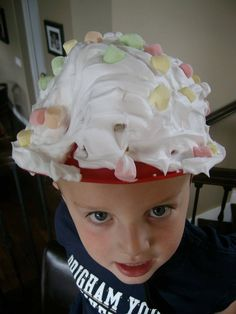 Divide into 2 teams. One kid on each team wears a hat covered in shaving cream. The 2 teams line up and throw marshmallows at the hat. The team who gets the most marshmallows to stick wins.